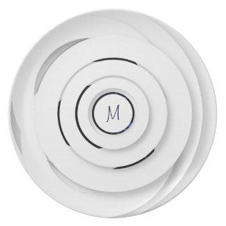 Assiettes En Mélamine Anneaux blancs de recouvrement - faux 3D - plat de
