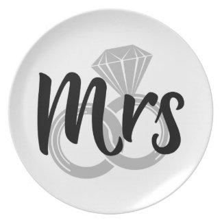 Assiettes En Mélamine Anneaux de mariage de Mme Bride