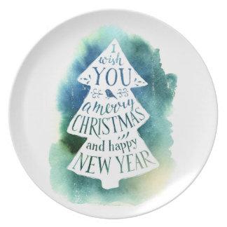 Assiettes En Mélamine Aquarelle de Noël | - citation de Joyeuses Fêtes