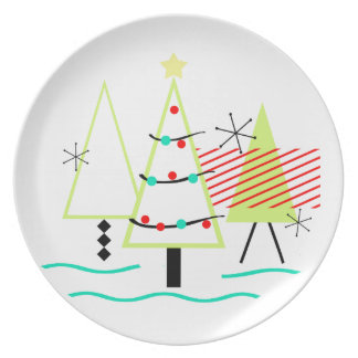 Assiettes En Mélamine arbres de Noël modernes de la moitié du siècle