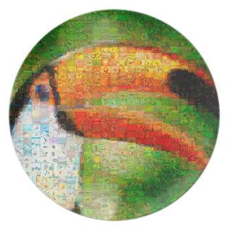 Assiettes En Mélamine Art de collage-toucan de toucan - art de collage