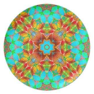 Assiettes En Mélamine Art floral G410 de fractale de plat