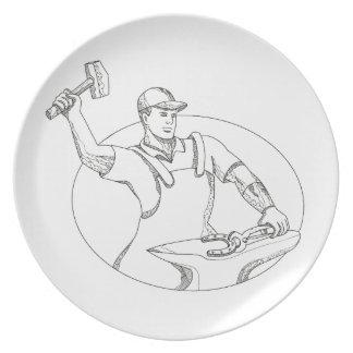 Assiettes En Mélamine Art ovale de utilisation de griffonnage de marteau