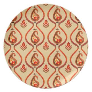 Assiettes En Mélamine Automne Ikat terreux Paisley peint à la main