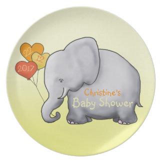 Assiettes En Mélamine Baby shower non sexiste d'éléphant de ballons