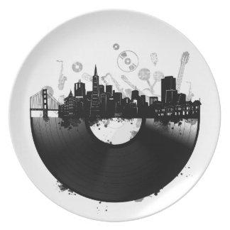 Assiettes En Mélamine blanc de vinyle d'horizon de ville de San