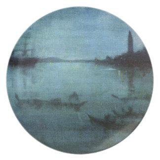 Assiettes En Mélamine Bleu et argentez la lagune Venise