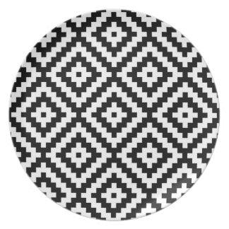 Assiettes En Mélamine Bloc aztèque Ptn de symbole noir et blanc II