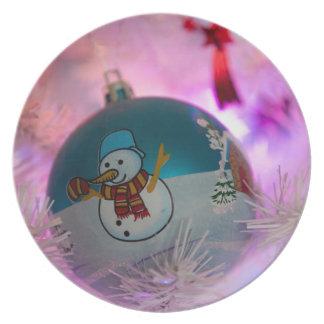 Assiettes En Mélamine Bonhomme de neige - boules de Noël - Joyeux Noël