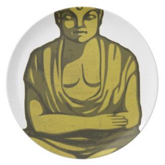 Assiettes En Mélamine Bouddha d'or
