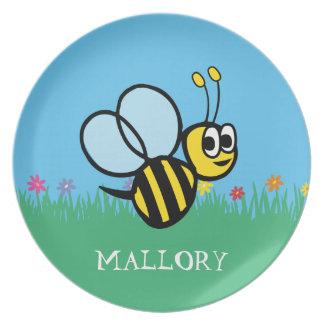 Assiettes En Mélamine Bourdon mignon personnalisé de jardin d'abeille