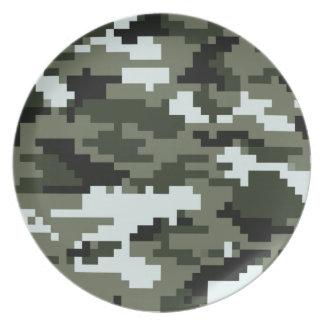 Assiettes En Mélamine Camouflage urbain/Camo de pixel de 8 bits