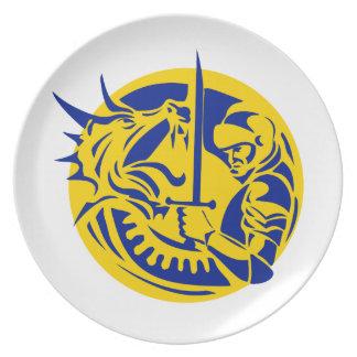 Assiettes En Mélamine Cercle de combat de dragon de chevalier rétro