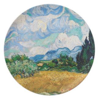Assiettes En Mélamine Champ de blé avec des cyprès par Vincent van Gogh