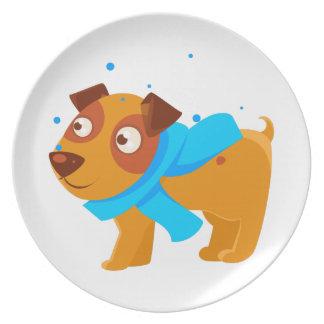Assiettes En Mélamine Chiot dans l'écharpe bleue marchant dehors en