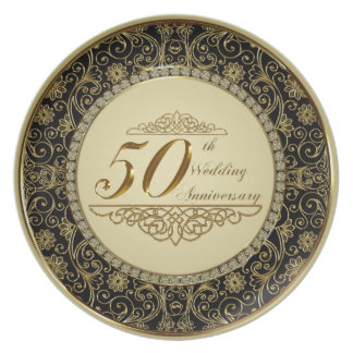 Assiettes En Mélamine cinquantième Plat de mélamine d'anniversaire de