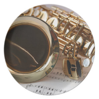 Assiettes En Mélamine Clés de Notenblatt de lustre d'or de musique de