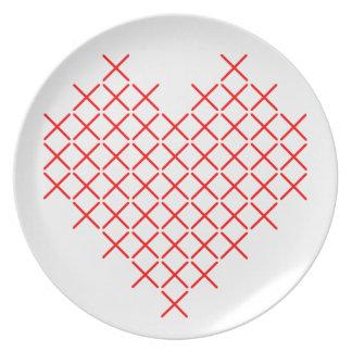 Assiettes En Mélamine Coeur de point de Croix-Rouge