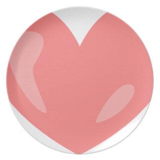 Assiettes En Mélamine Coeur rose