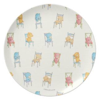 Assiettes En Mélamine Concerne le motif de chaises