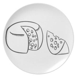 Assiettes En Mélamine Coupez le bloc de fromage suisse