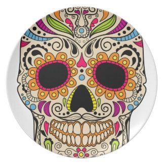 Assiettes En Mélamine Crâne mexicain de couleur
