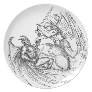Assiettes En Mélamine Démon de combat d'ange au-dessus de tatouage du