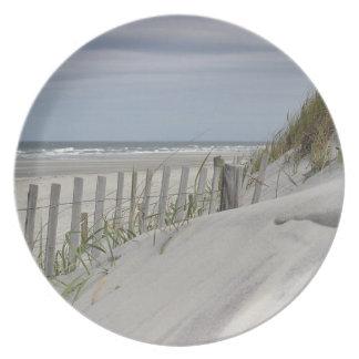 Assiettes En Mélamine Dunes de sable et barrière de plage