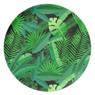 Assiettes En Mélamine Feuille de palmiers tropicaux