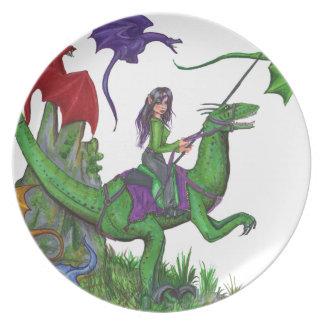 Assiettes En Mélamine Fille avec des dragons et des dinosaures