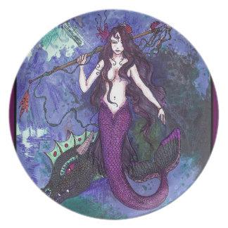 Assiettes En Mélamine Fille pourpre de sirène avec le serpent de mer de