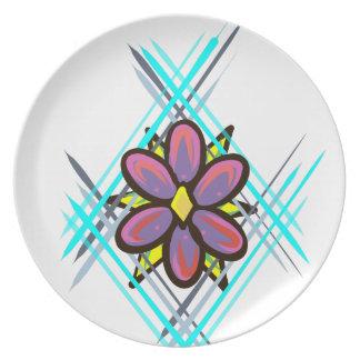 Assiettes En Mélamine Fleur rose et pourpre avec l'arrière - plan bleu