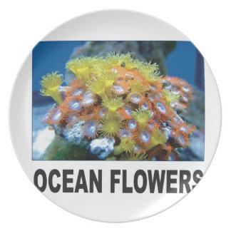 Assiettes En Mélamine fleurs d'océan