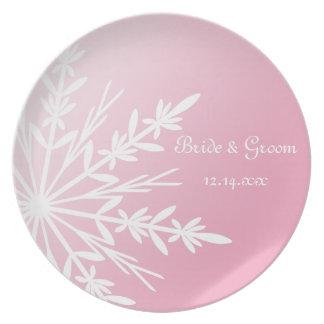 Assiettes En Mélamine Flocon de neige blanc sur le souvenir rose de