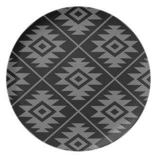 Assiettes En Mélamine Gris stylisé d'atterrisseur Ptn de symbole aztèque