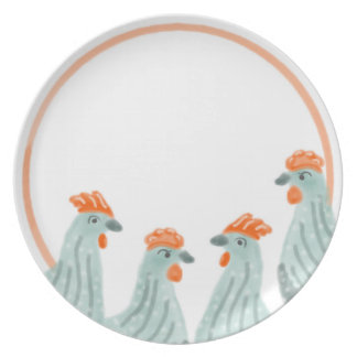 Assiettes En Mélamine Groupe de quatre poulets d'un plat
