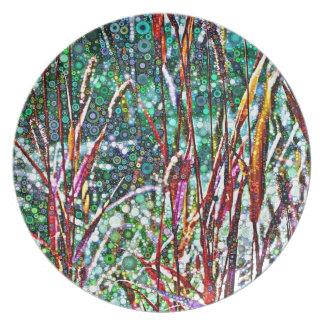 Assiettes En Mélamine Herbes pointillées d'automne