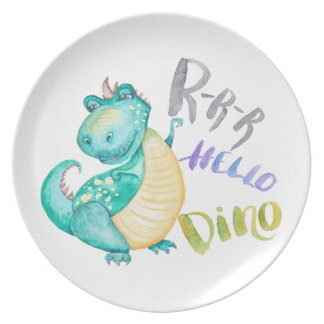 Assiettes En Mélamine Illustration de dinosaure