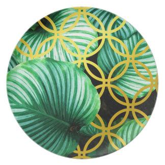 Assiettes En Mélamine Illustration moderne tropicale géométrique de