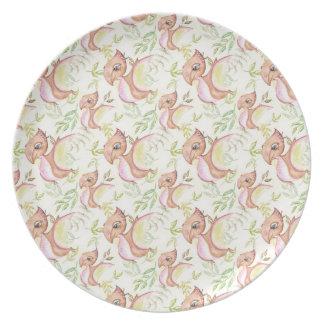 Assiettes En Mélamine Illustration tirée par la main de dinosaure de