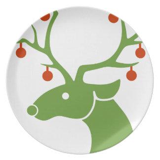 Assiettes En Mélamine Joie de vacances de Noël de renne