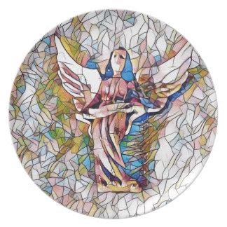 Assiettes En Mélamine Joli ange gardien en verre souillé