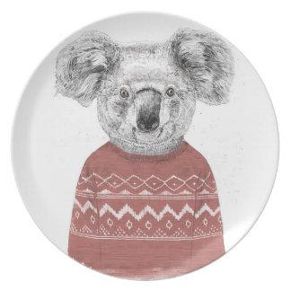 Assiettes En Mélamine Koala d'hiver (rouge)