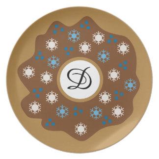 Assiettes En Mélamine Le bleu de beignet de Noël de flocon de neige