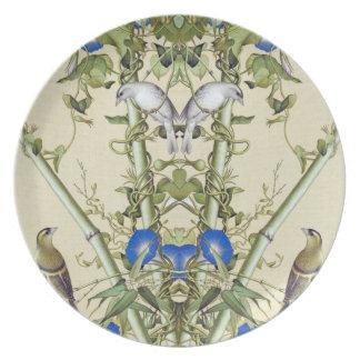 Assiettes En Mélamine Le bleu en bambou asiatique fleurit le plat de