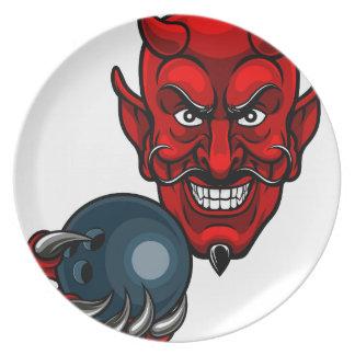 Assiettes En Mélamine Le bowling de diable folâtre la mascotte