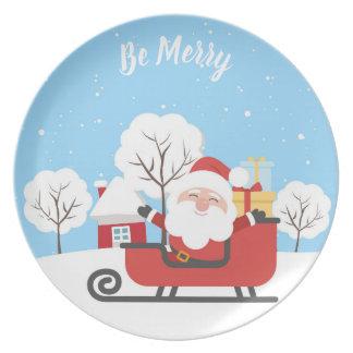 Assiettes En Mélamine LE PÈRE NOËL SUR UN TRAÎNEAU ROUGE. PLAT de Noël