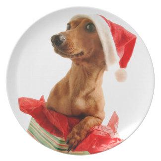 Assiettes En Mélamine Le teckel père Noël - le chien de père Noël -