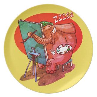 Assiettes En Mélamine l'éléphant le peintre est bande dessinée drôle de