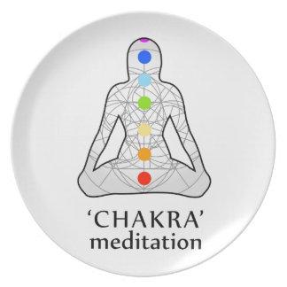 Assiettes En Mélamine Les sept chakras avec leurs couleurs respectives